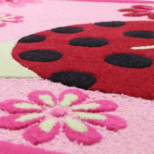 buy kids rugs kids rugs online, ladybug rug, pink floral ladybug rug, Buy girls ladybug rug, girls room rug, kids bedroom rugs, littlelooms rugs, Hand tufted rugs, handmade rugs, plush kids rugs