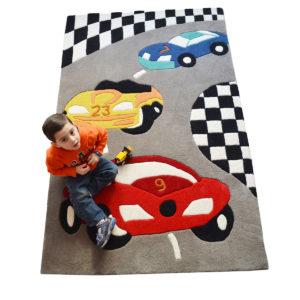 buy kids rugs online, cars rug, grey car track rugs, buy cars rug, red car rug, rugs for boys, buy red car rug for boys, littlelooms rugs, hand tufted rugs, handmade rugs