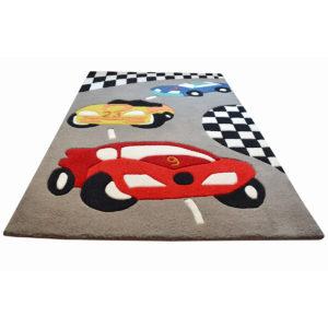 buy kids rugs online, cars rug, grey rugs, buy cars rug, red car rug, rugs for boys, buy red car rug for boys, littlelooms rugs, hand tufted rugs, handmade rugs