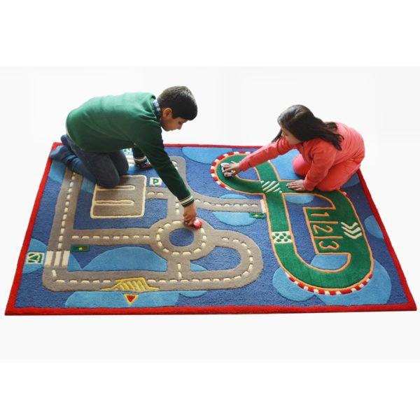 buy kids rugs, buy track rugs, kids rugs online, carpet for kids, blue rugs, buy blue track rugs for boys, boys blue track rugs, rugs for boys, rugs for playing, handmade rugs, littlelooms rugs, colorful rugs