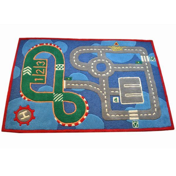 buy kids rugs, kids rugs online, carpet for kids, blue rugs, buy blue track rugs for boys, boys blue track rugs, rugs for boys, rugs for playing, handmade rugs, littlelooms rugs, colorful rugs