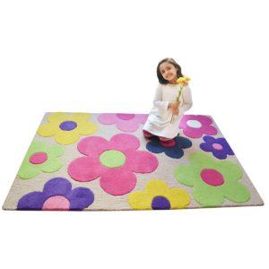 buy kids rugs, kids rugs online, pink floral rug, flower rug for girls, pink flower rug for girls, colorful rug for girls, littlelooms rugs, hand tufted rugs, handmade rugs
