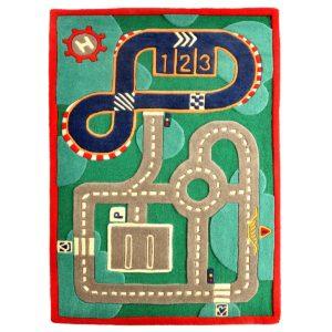 buy kids rugs, track rug, kids colorful track rugs, boys rugs, children's track rug, playroom rugs, littlelooms rug, buy kids track rugs online, green track rugs, hand tufted rug, handmade rugs