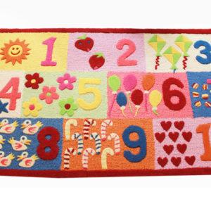 buy kids rugs, kids rugs online, kids numbers rug, pink numbers rug, colorful girls numbers rug, rugs for learning, rugs for playing, littlelooms rugs, hand tufted rugs, handmade rugs, kids room rugs, kids play room rug