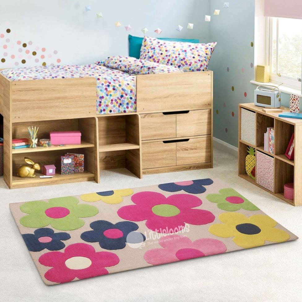 Beige floral rug- Littlelooms