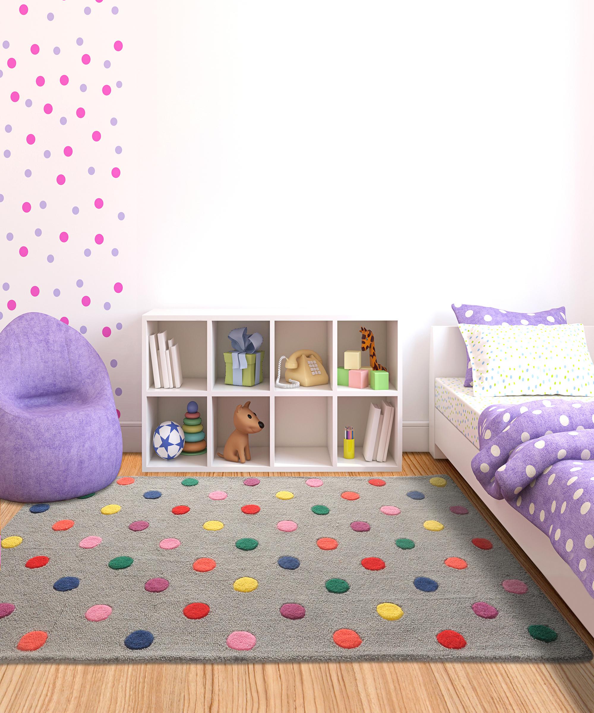 buy rugs online, grey rug, buy kids grey rug, handmade rugs, hand tufted rugs, colorful dot rug, living room rugs, area rugs, kids rugs, bedroom rugs, littlelooms rugs, versatile rugs