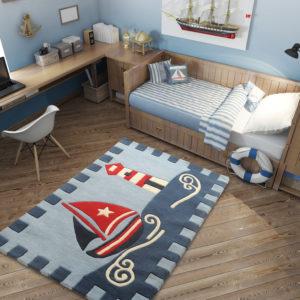 kids rugs, carpet for kids, rugs for playing, rugs for boys, rugs for playing, nursery rugs, buy kids rugs, kids rugs online, Boat Rug, Sailors rug, Blue rug, buy boat rug, blue boat rug, hand tufted rugs, handmade rugs, littlelooms rugs