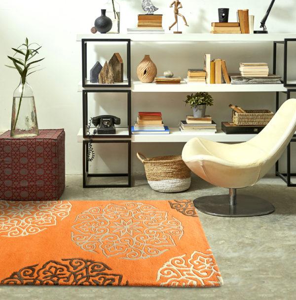 buy rugs online, buy carpets online, amber medallion rug, orange medallion rug, orange motif rugs, large motif rugs, living room rugs, area rugs, bedroom rugs, littlelooms rugs, hand tufted rugs, handmade rugs