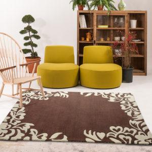 buy rugs online, buy carpets online, brown motif rug, brown floral rugs, living room rugs, formal rugs, plush brown rug, accent rugs, littlelooms rugs, hand tufted rugs, handmade rugs
