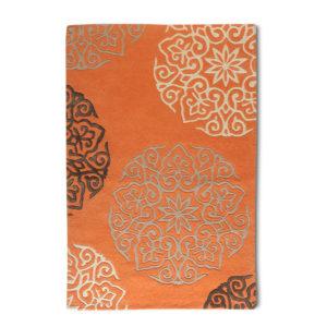 buy rugs online, buy carpets online, orange motif rugs, large motif rugs, living room rugs, area rugs, bedroom rugs, littlelooms rugs, hand tufted rugs, handmade rugs