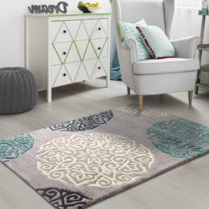 buy rugs online, grey motif rug, flower rug, floral rug, area rugs, buy living room rugs, grey flower rugs, colorful rugs, littlelooms rugs, handmade rugs, hand tufted rugs, bedroom rugs