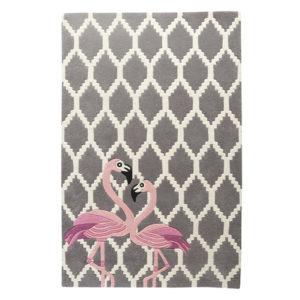 buy rugs online, flamingo rug, buy flamingo rugs, grey pattern rug, rugs for living room, living room rugs, accent rugs, bedroom rugs, grey pattern rug with flamingo, littlelooms rugs, hand tufted rugs, handmade rugs