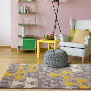 buy rugs online, buy carpets, modern rugs, grey & yellow rug, grey pattern rug, contemporary rug designs, littlelooms rugs, hand tufted rugs, handmade rugs