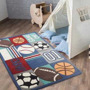buy kids rugs online, kids carpets, champ rug, boys rugs, boys room rugs, sports rugs, playroom rugs, children's carpets, blue kids carpet, littlelooms rugs, hand tufted rugs, handmade rugs