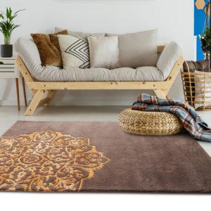 buy rugs online, buy carpets, brown motif rug, brown rugs, classic rugs, rugs for living room, area rugs, accent rug, bedroom rug, fireplace rug, littlelooms rugs, hand tufted rugs, handmade rugs