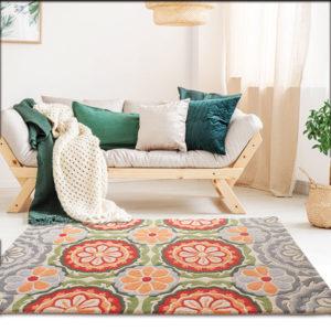 buy rugs online, bgrey motif rug, flower rug, floral rug, area rugs, buy living room rugs, grey flower rugs, colorful rugs, littlelooms rugs, handmade rugs, hand tufted rugs, bedroom rugs