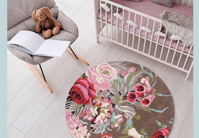 buy kids rugs online, buy kids carpets online, round floral rug, colorful rugs, flower rugs, nursery rugs, littlelooms rugs, hand tufted rugs, handmade rugs