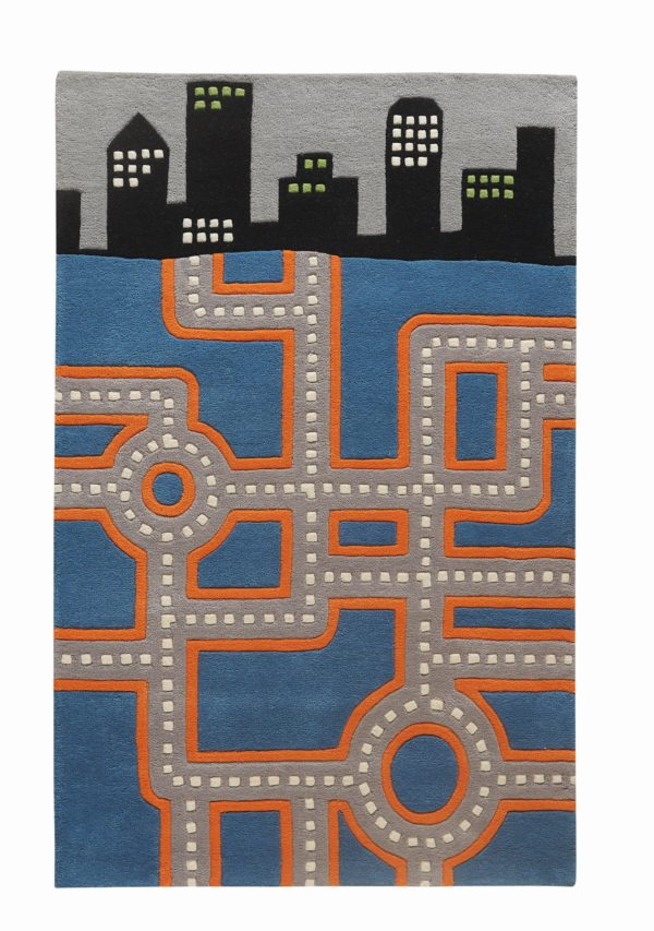 kids rugs, carpet for kids, rugs for boys, rugs for playing, woolen rugs, hand tufted, colorful rugs, orange kids carpets, Race Track Rug, Littlelooms rugs, Hand tufted rugs, buy rugs, buy rugs online