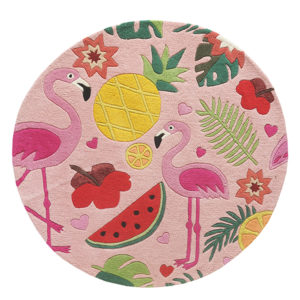 Tropical rugs, Round rugs, Teal rugs, Tropical Flamingo Rug, Pink Flamingo Rug, Flamingo rug India, Round Flamingo Rug, Colorful rug, colorful girls rug, tropical rugs, Flamingo rugs, Pineapple rug, Pink rugs, Girls bedroom rugs, Flamingo carpets