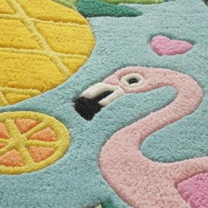 Tropical rugs, Round rugs, Teal rugs, Flamingo rugs, Pineapple rug, Blue rugs, Girls bedroom rugs, Flamingo carpets, tropical flamingo rug, tropical flamingo rug india