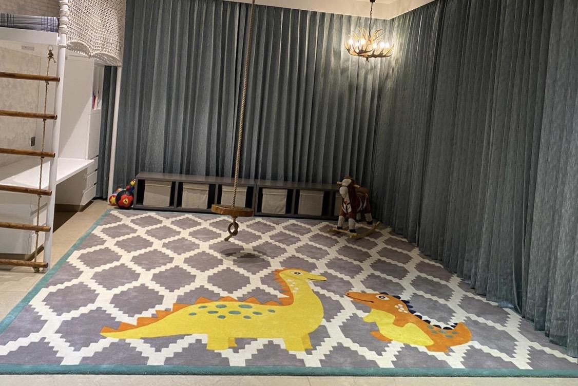 buy kids rugs online, kids rugs, Dino rug for kids, kids dinosaur rug, grey pattern rug with dinosaur, rugs for children, littlelooms rugs, hand tufted rugs, handmade rugs