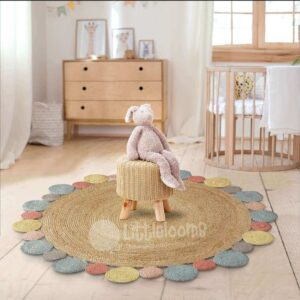 Jute rugs, Round rugs, Round jute rug, Living room rugs, Kids room rugs, Flooring ideas, Round mats, Jute carpet, Jute mat, Littlelooms, Stylish carpets, Designer carpets, Casual area rugs, Beige and white rugs, Natural rugs, Shop rugs, Online rugs