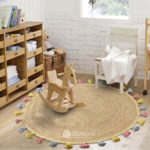 Jute rugs, Round rugs, Round jute rug, Living room rugs, Kids room rugs, Flooring ideas, Round mats, Jute carpet, Jute mat, Littlelooms, Stylish carpets, Designer carpets, Casual area rugs, Beige and white rugs, Natural rugs, Shop rugs, Online carpets, Cheap rugs, Cheap online rugs