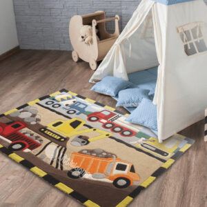 kids rugs, carpet for kids, rugs for boys, rugs for playing, handmade rugs, construction kids carpet, woolen rugs