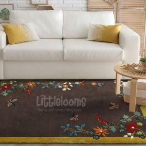 buy kids rugs online, kids rugs, oriental blossoms brown rug, buy brown rug, rugs for living room, kids room rugs, area rugs, brown floral rug, littlelooms rugs, hand tufted rugs, handmade rugs