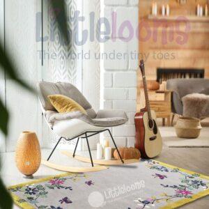 buy rugs online, grey rugs, oriental blossoms grey rug, buy grey rug, rugs for living room, bedroom room rugs, area rugs, grey floral rug, littlelooms rugs, hand tufted rugs, handmade rugs