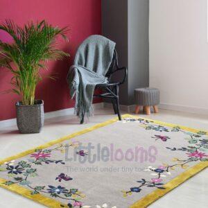 buy kids rugs online, kids rugs, oriental blossoms grey rug, buy grey rug, rugs for living room, kids room rugs, area rugs, grey floral rug, littlelooms rugs, hand tufted rugs, handmade rugs