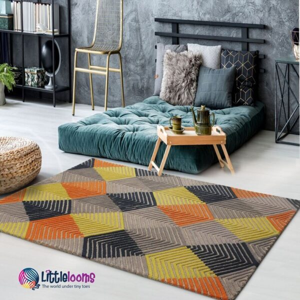 buy rugs online, 3D sunrise rug, modern rugs, contemporary rugs, rugs for bedroom, rugs for living room, littlelooms rugs, hand tufted rugs, handmade rugs