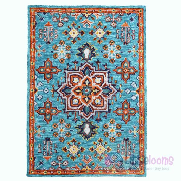 blur rugs online, blue designer rugs, blue handmade printed rugs online, luxury rugs online