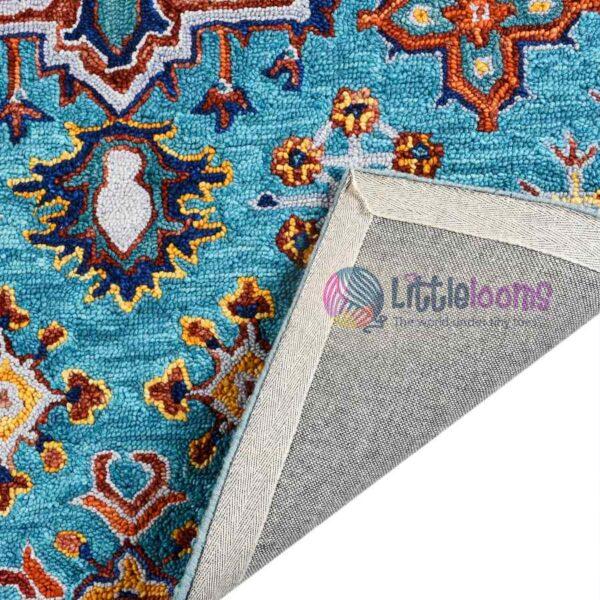 teal rug, sustainable rug, natural rugs online, buy printed rugs online