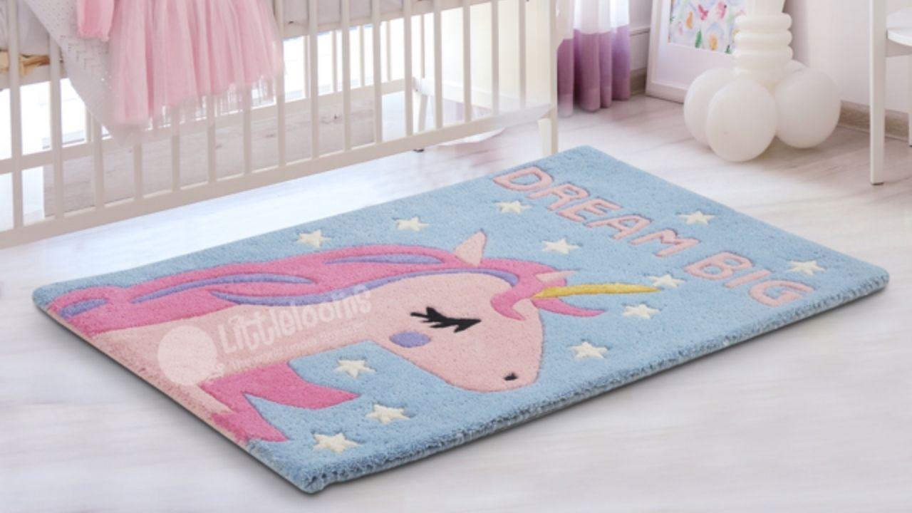 unicorn rug, kids rug, nursery rugs, children's rug, princess rug, girls room rug, pink unicorn rug