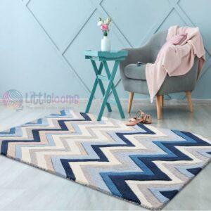 chevron rug, blue chevron rug, buy online blue rugs, blue handmade rugs online