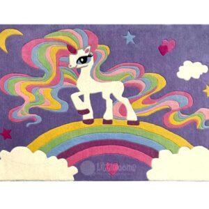 nursery rug , celeste unicorn girls room rugs, unicorn design rugs, multi-colour rugs for girls room
