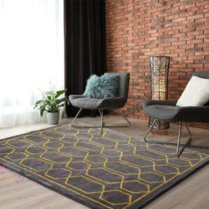 grey printed carpets online, floor carpets, designer floor carpets online, grey and gold rugs online