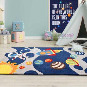 Universe rug, Astronaut rug, space rug, rocket rug, educational rugs, carpets planets rug, solar system rug