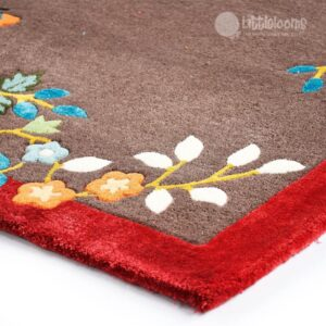 sustainable maroon carpets, natural handmade carpets, floral carpets online, maroon oriental floral rugs online