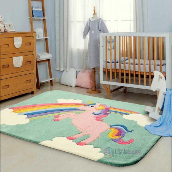 unicorn rug, kids rug, nursery rugs, children's rug, princess Lia rug